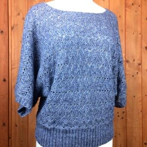 Ruby Rd Soft Blue Batwing Cropped Sweater L
